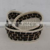 Set/3 Nested Oval Bamboo And Rattan Basket