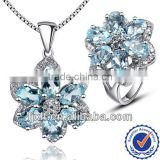 New Arrival Fashion Design Gemstone Jewelry Sets, 925 Sterling Silver Natural Blue Topaz Jewelry Sets