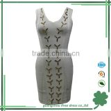 Fancy gold metal sequins white dress for women casual bandage dress
