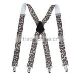 High quality girls pants jeans suspenders leopard printed X shape suspenders