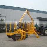 High quality ZM8006 8 Tons Tractor mounted Log Trailer with Crane for sale