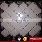 IMARK Pure White Color Arabesque Lantern Pattern Porcelain Mosaic Tile/Backsplash Tile/Polished Tile
