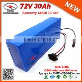 Electric Motor 72V Battery 30Ah Ev Li-Ion Battery Pack for 3600W Electric Bike with 50A BMS 2A Charger in Samsung 18650 Cells