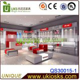 Store design cloth shop display table design garments counter kiosk MDF Material Shop Cloth Kiosk with WEX Price
