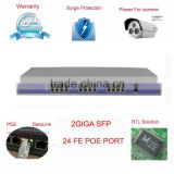 POE switch 24 port with 2 giga fiber uplink port 10/100Mbps work well with hik IP camera