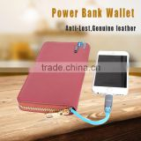 Genuine leather long security female smartphone card holder wrist wallet with power bank