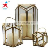 European outdoor furnishing articles, wrought iron candlestick, glass floor storm lantern wedding gift hotel decoration