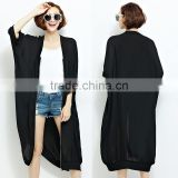 New Black Oversize Blouse Women Chiffon Kimono Long Cardigan Half Sleeve Coat Zipper Jacket Blusas Tops Beach Cover Up for Women