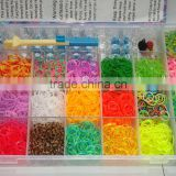 rainbow color silicone band loom kits/ DIY rainbow rubber band bracelet /colorful latex free loom bands