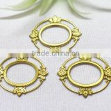 brass flower hair accessories DIY hollow out oval shape flower garment accessories metal flower jewelry accessories