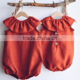 Dress-Jumpsuit For Baby Girl Clothes Linen Romper Stylish Simple Baby Clothes Apparel