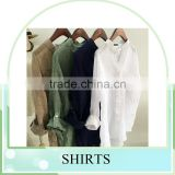 wholesale price summer sun protection Linen / cotton plain long shirts for women
