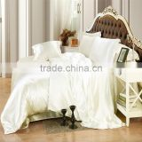 Ivory Color Silk Bedding Sets Twin Full Queen King Size Soft Bedcover Solid Color Duvet Cover Set