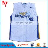 Sublimation custom sleeveless baseball jerseys latest full button youth baseball jersey