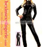 wholesale zentai black wet look long sleeve latex catsuit