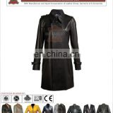Ladies double breasted lamb leather windbreak long coat with waistband, Women Leather Coat for Girls