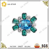 Light blue acrylic sew-on gemstones with green
