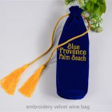 embroidery velvet wine bag with tassels
