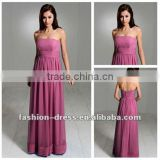 Sleeveless Chiffon A-line Ankle-length Strapless Patterns For Bridesmaids Dress