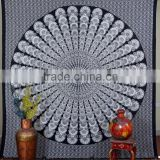 Indian Tapestry Cotton Black Mandala Print Vintage Wall Hanging Tapestries Throw Bedsheet