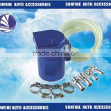 Universal Aluminum Oil Catch Tank Can W/ Clear Indicator Kit for Blue