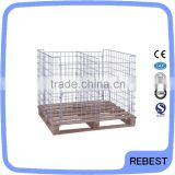 Storage warehouse metal folding cage with wooden pallet