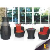 Gold supplier wholesale black color rattan furniture philippines with red cushion