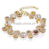 kids wholesale jewelry colorful crystal yellow gold plated charm bracelet 2015
