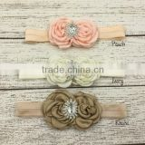 Solid color cute baby girl headband new design flower elastic hair band