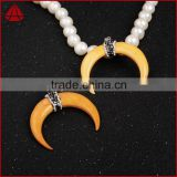 Wholesale Hot sale bone crescent horn necklace with rhinestone beads fashion jewelry