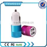 Colorful dual USB car charger 2.1A output for Phone 6,promotional double 2 USB car charger adapter