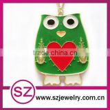 N5 cute owl charm necklace with red heart