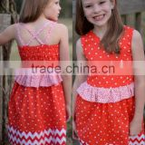 2015 Fashion Style Latest Child Kids Children Stripes Baby Girls Chevron Christmas Dress for Girl