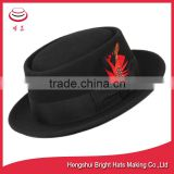 Porkpie Hat Wool Pork Pie Round Brim Fedora Black