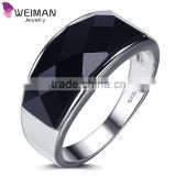 2016 New arrival high quality black agate gem stone men ring