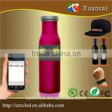 Wine bottle/bag/hat/belt flexible sign Smart phone bluetooth app Button key Remote cotrol running led wine bottle lights Sticker