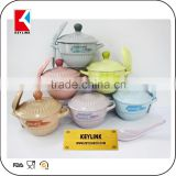 colorful stoneware bowl with lid and spoon ceramic bowl wholesael with handle ceramic soup bowl