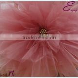 YHC#102 coral handmade artificial flower-polyester banquet wedding chair cover table cloth                                                                         Quality Choice