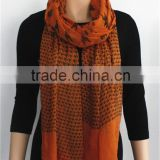 Houndstooth Printed Viscose Scarf with fringe