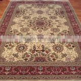 handmade wool & silk carpet light color belgium iranian silk carpet factory in guangzhou persian design