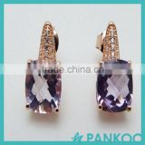 wholesale 925 sterling silver Gold-plated with inlaid amethyst jewelry fresh and simple Europe square earrings