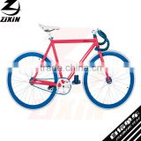 700C single speed aluminum alloy red frame blue rim track road city men's bike bicycle cycle cycling