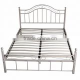 Metal platform bed frame and mattress foundation, with headboard and footboard, box spring replacement
