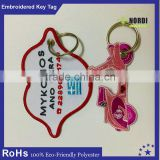 promotional Embroidery Keychain/felt keyring/ fabric key tag/High Quality In Cheap Price