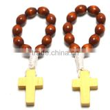 finger ring Catholic rosary in stainless steel jewelry,Catholic Finger Rings,wood beads cord rosary