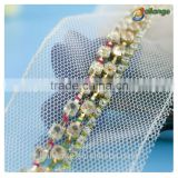 2016 high quality popular style crystal cup chain beaded lace trimmings