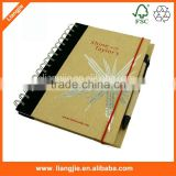 Eco-friendly logo customized kraft cover cloth pasted and pen attached metal coil spiral Notebook