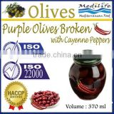 High Quality 100% Tunisian Table Olives,Purple Olives Broken with Cayenne Peppers, Purple Olives 370 ml Glass Jar