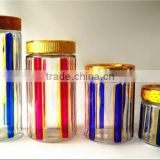 4pcs round glass jar with Hand painted