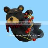 resin black bear wine bottle holder